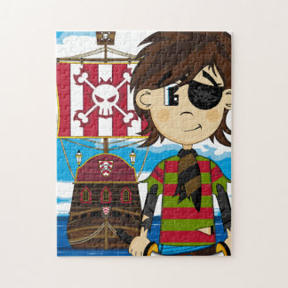 Cute Eyepatch Pirate and Ship Jigsaw Puzzle