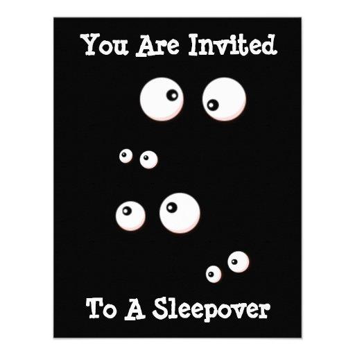 Cute Eyes In the Dark Kids Sleepover Invitation