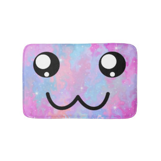 Cute Face Kawaii Pastel Magical Colorful Bath Mat