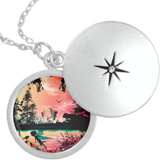 Cute fairies and birds round locket necklace
