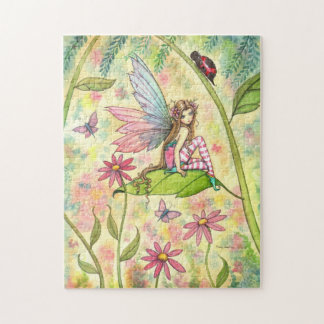 Cute Fairy and Ladybug Fantasy Art Jigsaw Puzzle