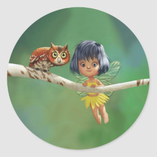 Cute Fairy And Owl Classic Round Sticker
