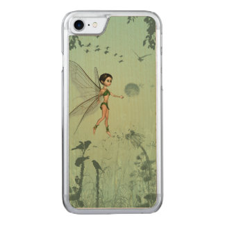 Cute fairy flaying  and playing with a dandelion carved iPhone 8/7 case