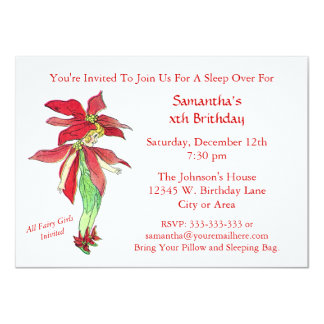 """Cute Fairy Flower Girl Birthday and or Sleep Over 4.5"""" X 6.25"""" Invitation Card"""