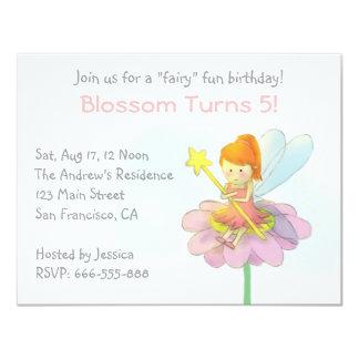 Cute Fairy, Girl Birthday Party 11 Cm X 14 Cm Invitation Card