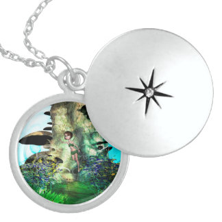 Cute fairy in a magical forrest round locket necklace