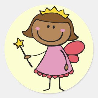 Cute Fairy in a Pink Dress Round Sticker