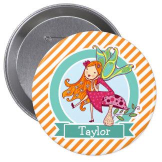 Cute Fairy on Mushroom; Orange & White Stripes 10 Cm Round Badge