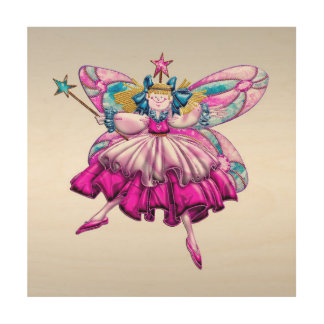 Cute Fairy on Silver Wood Canvas