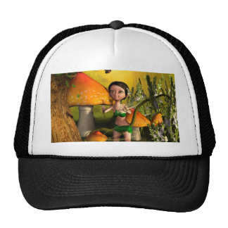 Cute fairy playing with a firefly cap