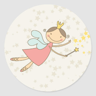 Cute Fairy Princess Birthday Party Decor Gift Tag Round Sticker