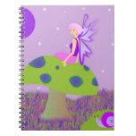 Cute Fairy Princess on Mushroom w/ Snail - Purple Notebook