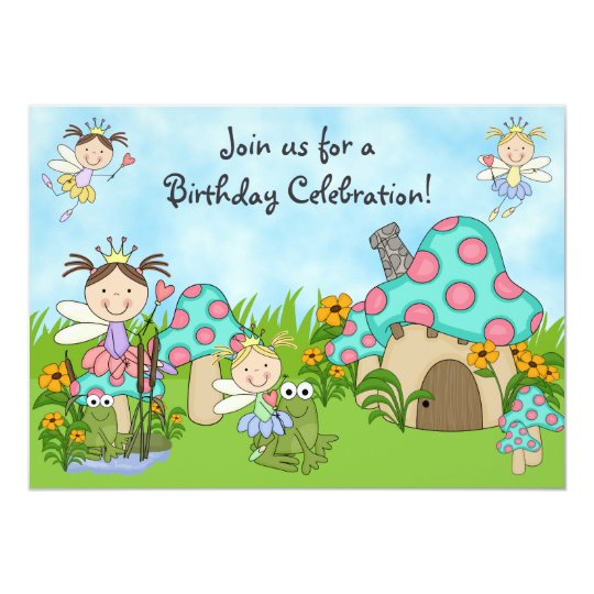 Cute Fairy Princesses and Frogs Birthday Party Card