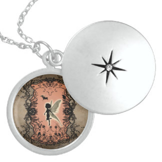 Cute fairy silhouette with glowing shine round locket necklace