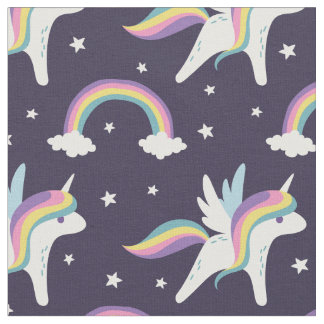 Cute Fairy Unicorn + rainbows blue background Fabric