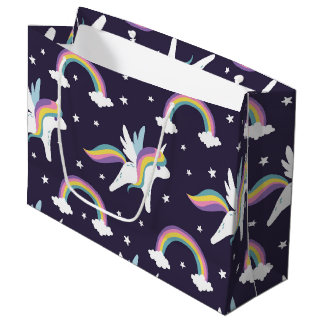 Cute Fairy Unicorn + rainbows blue background Large Gift Bag