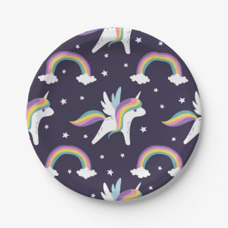 Cute Fairy Unicorn + rainbows blue background Paper Plate