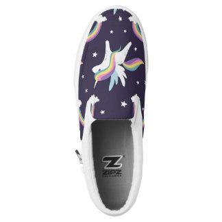 Cute Fairy Unicorn + rainbows blue background Slip On Shoes