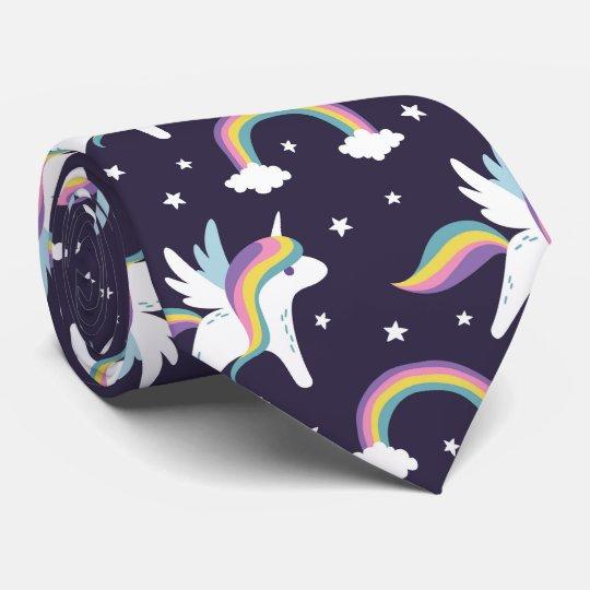 Cute Fairy Unicorn + rainbows blue background Tie