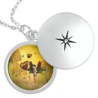 Cute fairy with butterfly round locket necklace