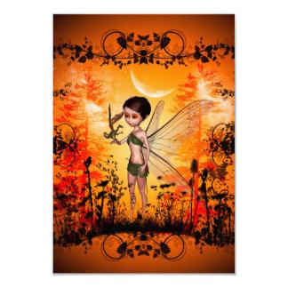 Cute fairy with little dragon anf black flowers 9 cm x 13 cm invitation card