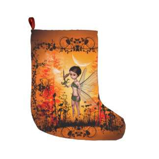 Cute fairy with little dragon large christmas stocking