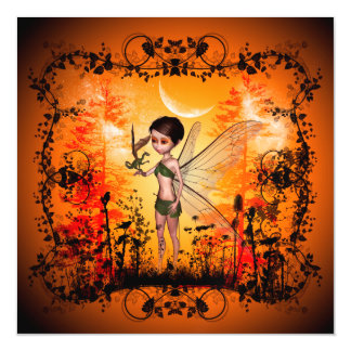 Cute fairy with little dragon magnetic invitations