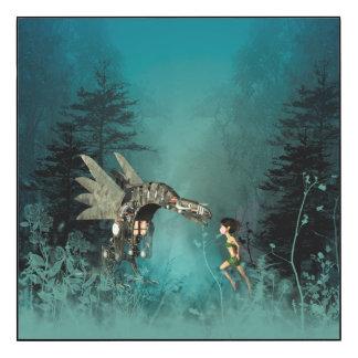 Cute fairy with steam dragon