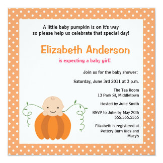Cute Fall Baby Shower Invitation - Girl
