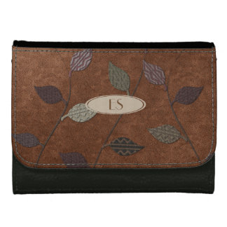 Cute Fall Dark Patterned Leaf Collage Style Wallet
