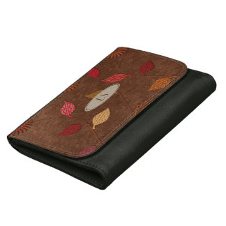 Cute Fall Patterned Leaf Collage Style Wallet