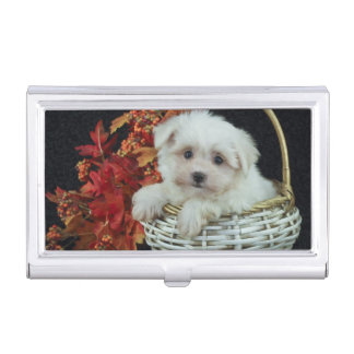 Cute Fall Puppy Business Card Holder