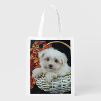 Cute Fall Puppy Reusable Grocery Bag