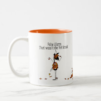 Cute Fall Season Horses Hiding From Vet Cartoon Two-Tone Coffee Mug