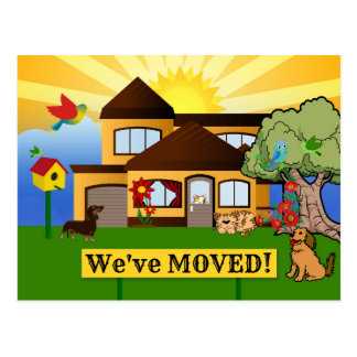 Cute Family Moving New Address Postcard