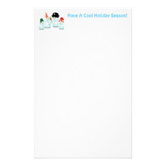 Cute Family Of Snowmen Stationery Design