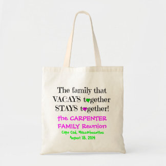 Cute Family Reunion Totes, Lime & Hot Pink Tote Bag