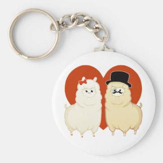 Cute Fancy Alpaca Couple Basic Round Button Key Ring