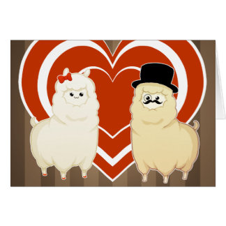 Cute Fancy Alpaca Couple Card
