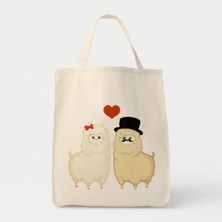 Cute Fancy Alpaca Couple Tote Bag