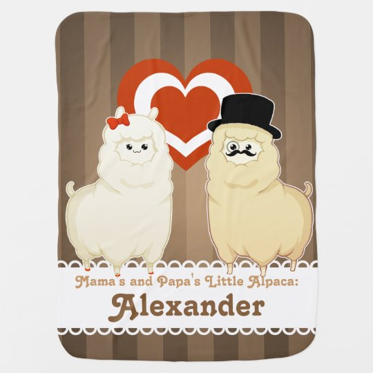Cute Fancy Alpaca Couple with text option Baby