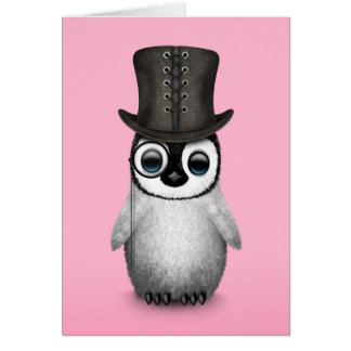 Cute Fancy Baby Penguin with Top Hat on Pink Greeting Card