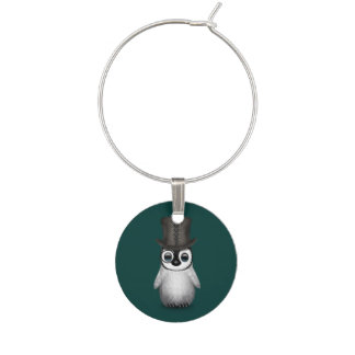 Cute Fancy Baby Penguin with Top Hat on Teal Blue Wine Charm