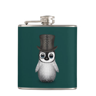 Cute Fancy Baby Penguin with Top Hat on Teal Hip Flask