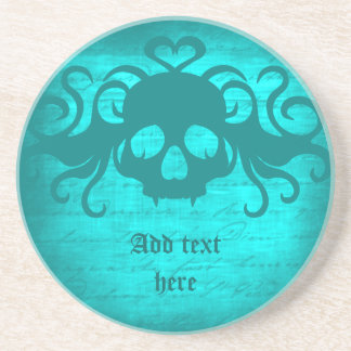 Cute fanged vampire skull aqua teal version beverage coaster