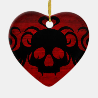Cute fanged vampire skull dark red christmas ornament