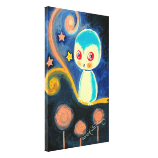 Cute Fantasy Blue Owl With Stars Canvas Prints