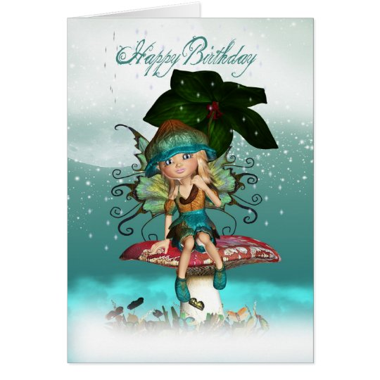 Cute Fantasy Fairy Elf Birthday Greeting Card