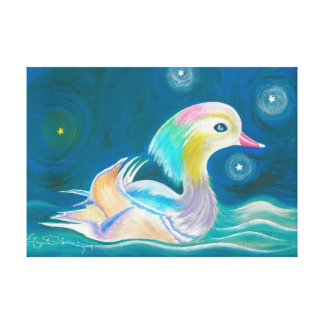 Cute Fantasy Mandarin Duck Painting Stretched Canvas Print