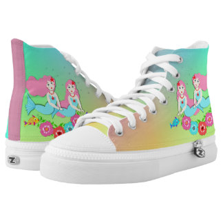 Cute Fantasy Mermaids Ombre Rainbow High Tops